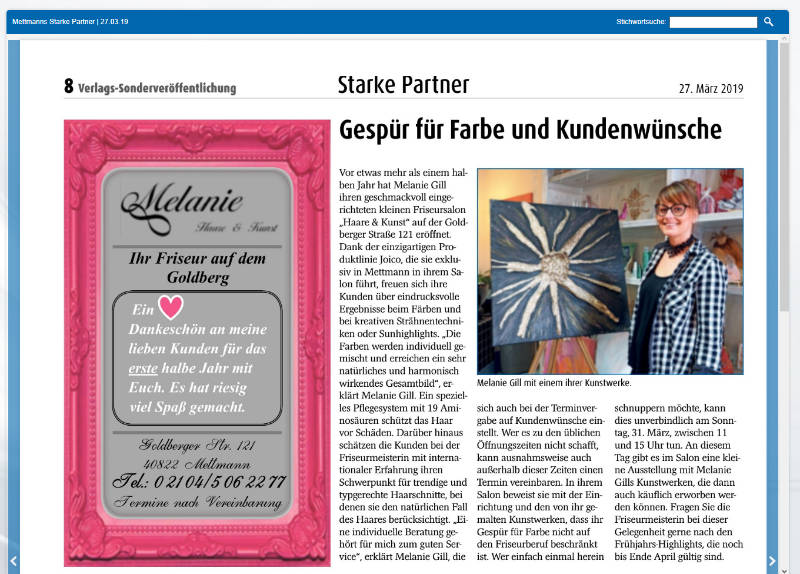 Artikel in Schaufenster Mettmann